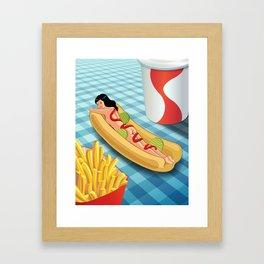 Hot Dog Girl Framed Art Print