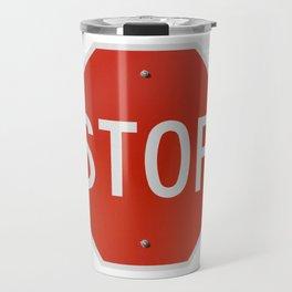 Red Traffic Stop Sign Travel Mug