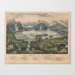 Vintage Lakes of Killarney Pictorial Map (1868) Canvas Print