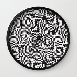 Modern Scandinavian B&W Black and White Curve Graphic Memphis Milan Inspired Wall Clock