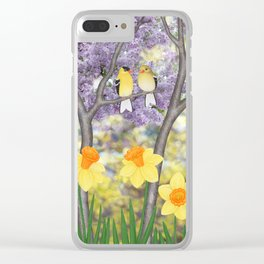 goldfinches, lilacs, & daffodils Clear iPhone Case