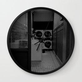 The Laundromat B&W Wall Clock