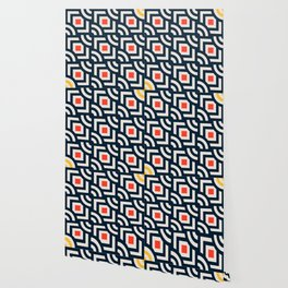 Round Pegs Square Pegs Navy Blue Wallpaper