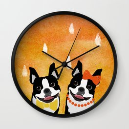 Boston Terriers Watercolor Wall Clock