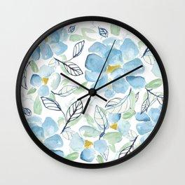 Blue flower garden watercolor Wall Clock