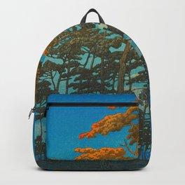 Vintage Japanese Woodblock Print Art Print Tall Sunset Trees Silhouette Twilight Forest East Asian Backpack
