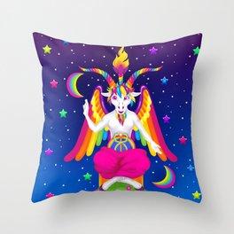 1997 Neon Rainbow Baphomet Throw Pillow