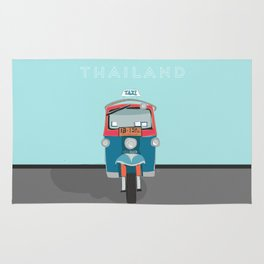 Thailand Tuk Tuk Taxi Travel Poster Rug