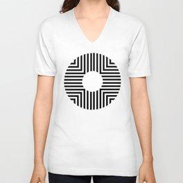 Modern Minimalist Geometric Striped Circle Black & White Unisex V-Neck