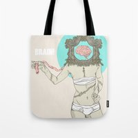 brain Tote Bags featuring Brain ! by UNCOMMON Graphic Design