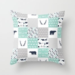 Camper antlers bears pattern minimal nursery basic navy mint white camping cabin chalet decor Throw Pillow