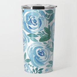 Pale blue roses . Watercolor . Travel Mug