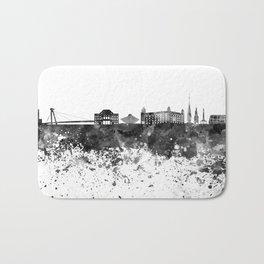 Bratislava skyline in black watercolor Bath Mat
