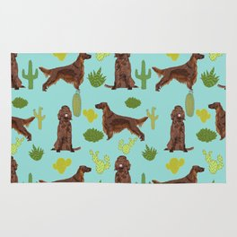 Irish Setter cactus southwest desert dog breed cute gift for dog lover pupper portrait pattern gifts Rug
