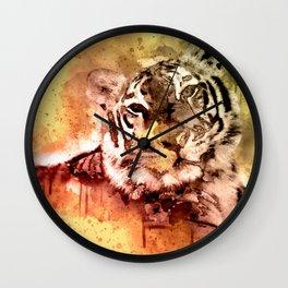 Tiger Watercolor, Painted Tiger Art, Cool Tiger, Splatter Tiger Design, Tiger Decor, Vintage Tiger Wall Clock