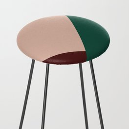 Burgundy and Green Geometric Counter Stool