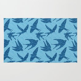 Swallows in Flight, Cobalt and Pale Blue Rug
