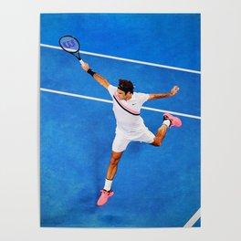 Flying Federer Tennis Backhand Poster