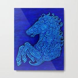 Blue Celtic Horse Abstract Spirals Metal Print