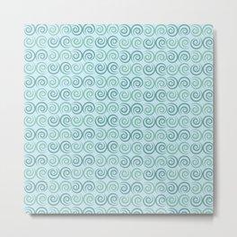 Blue Swirls Pattern Metal Print