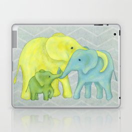 Elephant Family of Three in Yellow, Blue and Green Laptop & iPad Skin