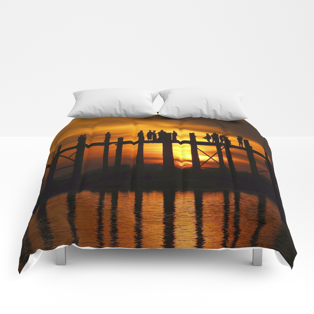 Sunset At U Bein Bridge, Myanmar Comforter by Kurtvanwagner CMF8479240