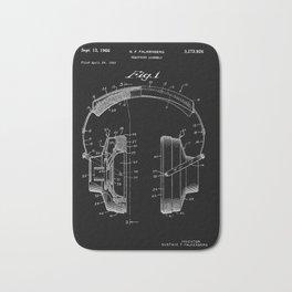 Headphones Patent - White on Black Bath Mat