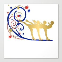 Gold Silhouette Synchro Team Graphic Design Canvas Print