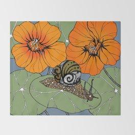Snail on Nasturtiums Throw Blanket