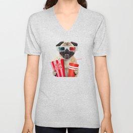 Pug watching a movie Unisex V-Neck