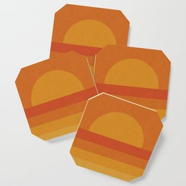 Retro Geometric Sunset Coaster