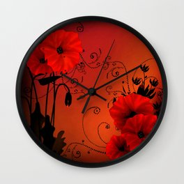 Poppy flowers, sunset Wall Clock