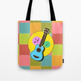 Fun colorful Ukuele and music notes Tote Bag
