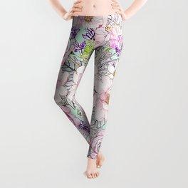 Watercolor garden peonies floral hand paint Leggings