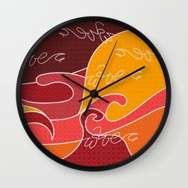 Waves V red colors V Duffle Bags Wall Clock