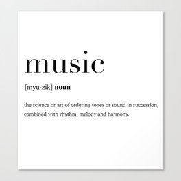 Music definition Canvas Print