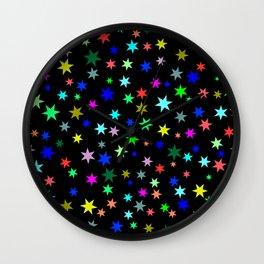Stars on black ground Wall Clock