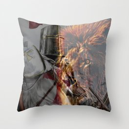Templar Knight and Lion Throw Pillow