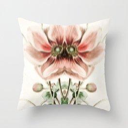 Botanical Flower Glitch IV Throw Pillow