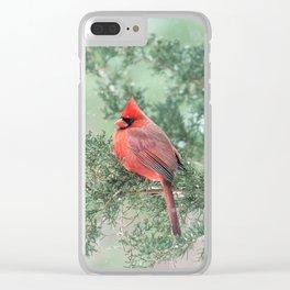 Christmas Bird (Northern Cardinal) Clear iPhone Case