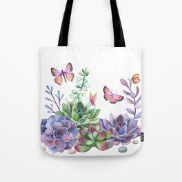 A Splendid Secret Succulent Garden With Butterfly Visitors Tote Bag