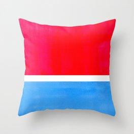 Colorful Bright Minimalist Rothko Midcentury Modern Art Vintage Pop Art Neon Red Cerulean Blue Throw Pillow