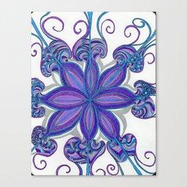 Bloom in Aqua & Purple Canvas Print