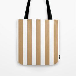 Wood brown - solid color - white vertical lines pattern Tote Bag