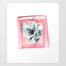 Peace Dove (Red) Art Print