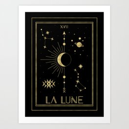 The Moon or La Lune Gold Edition Art Print