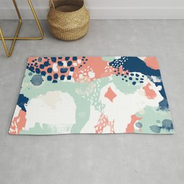Kayl - abstract painting minimal coral mint navy color palette boho hipster decor nursery Rug