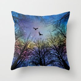 Wisdom Of The Night - Colorful Throw Pillow