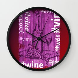 Hashtag Wine Wall Clock