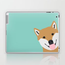 Shiba Inu Peek - cute shiba doge peeking funny dog art print mint turquoise customizable dog gift Laptop & iPad Skin